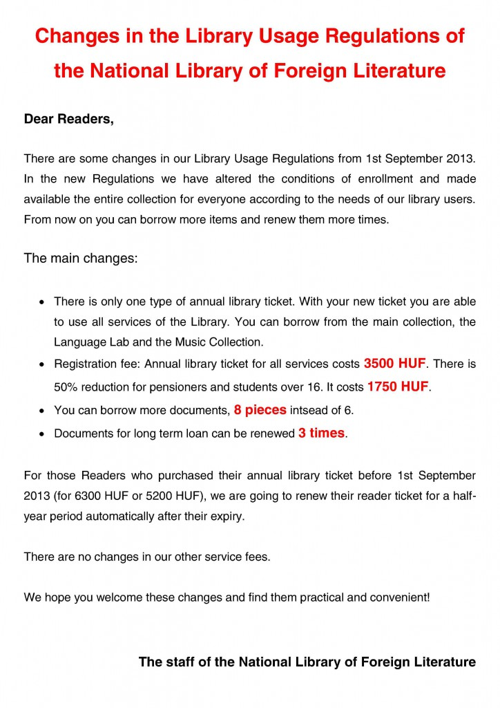 Changes in the Library Usage Regulations