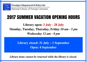 Summer vacation 2017 opening hours