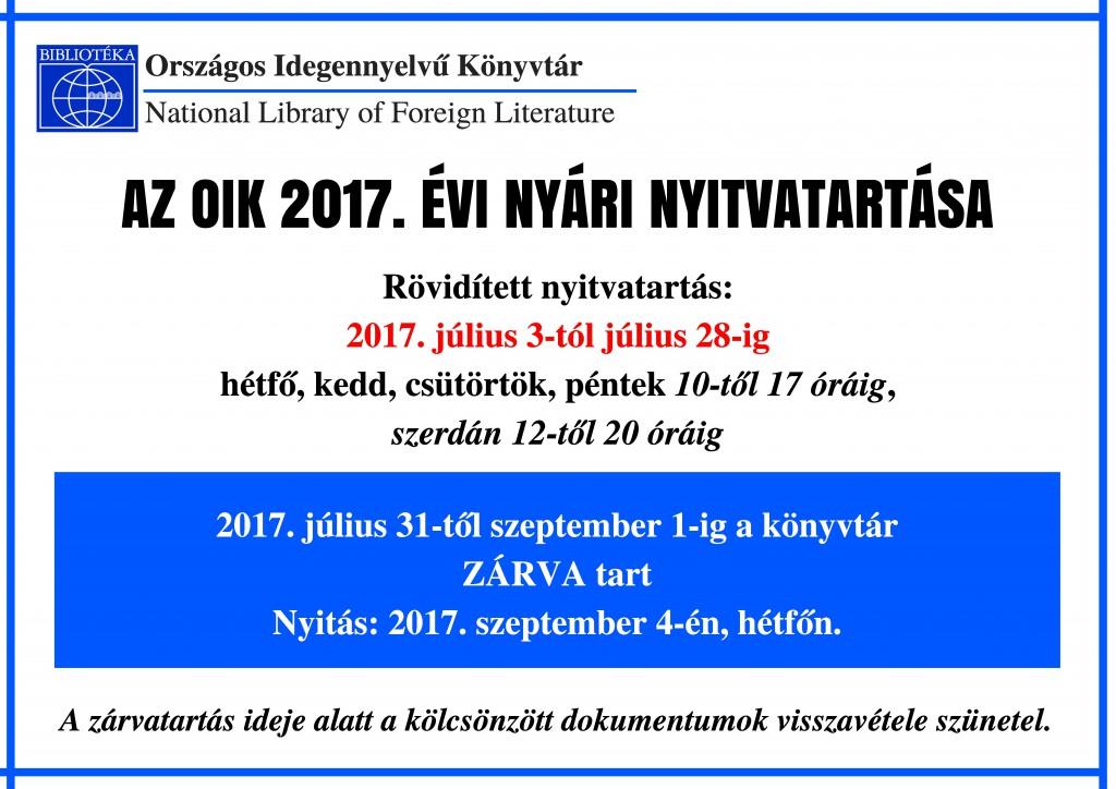 Nyári nyitvatartás 2017